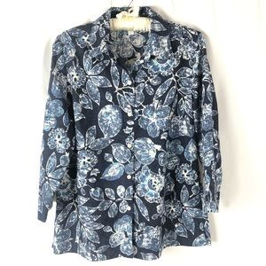 Charter Club 3/4 Sleeve Button Down Blouse Size 8